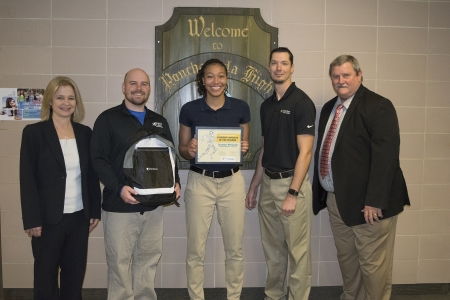 Jazmyn Womack with, from left, Lady Waves Head Basketball Coach Patricia Landaiche, North Oaks Sports Medicine Head Athletic Trainer/Supervisor Matthew Rabalais and Athletic Trainer Nick Owens, and Ponchatoula High School Principal Danny Strickland.